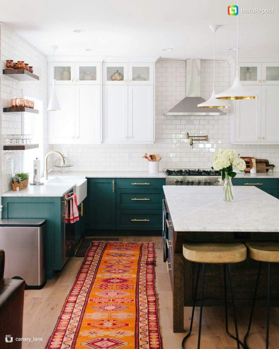 White Upper Cabinets Dark Teal Lower Cabinets Small Cabinets Near Ceiling Jewel Colored Rug Green Kitchen Cabinets Kitchen Inspirations New Kitchen Cabinets