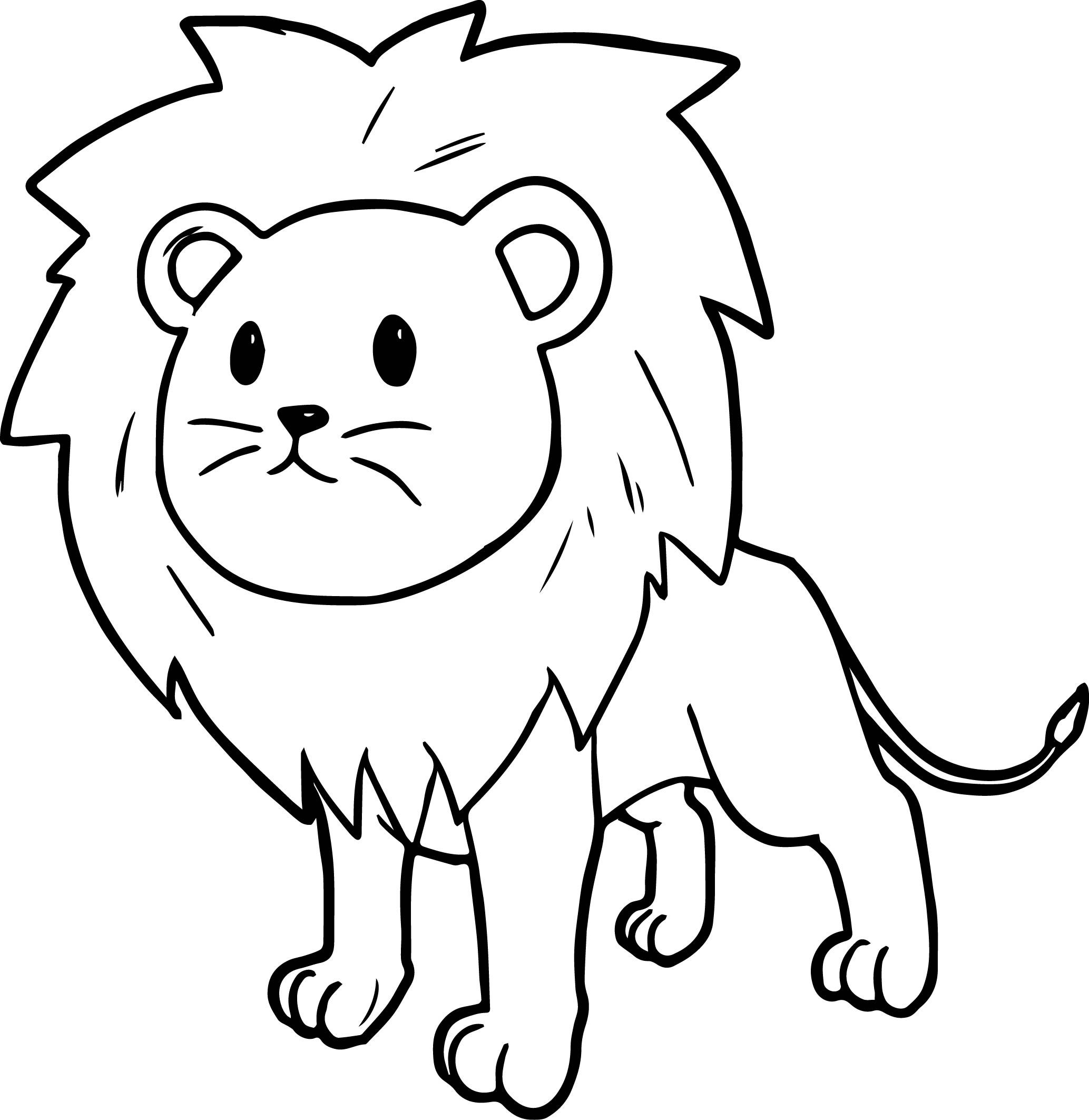 Nice Cute Cartoon Comic Lion Coloring Page
