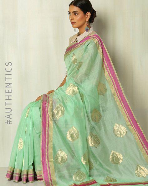 5da2eddd04b2a9 Buy Mint Green Indie Picks Chanderi Saree with Jamdani Pan Buta Pallu | AJIO
