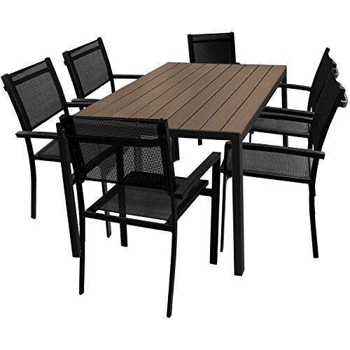 529 95 7tlg Gartengarnitur Aluminium Gartentisch 150x90cm Mit