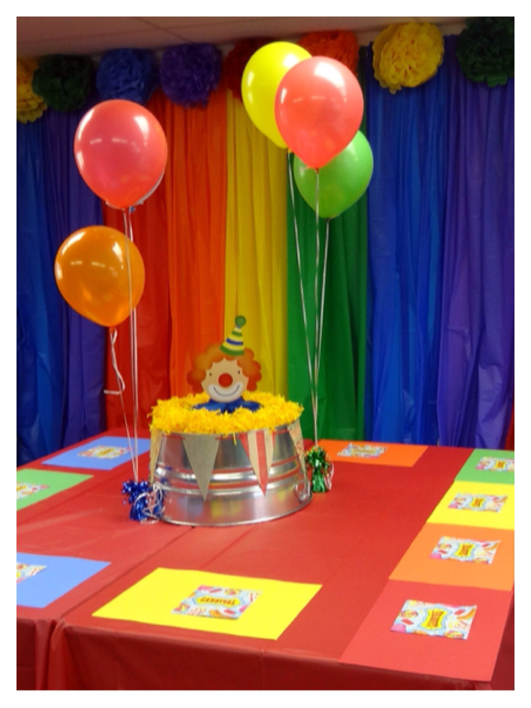 Carnival or circus theme backdrop table decorations for school party school daze - Carnival theme decoration ideas ...