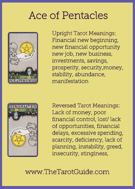 Ace of Pentacles Tarot Flashcard showing the best keyword