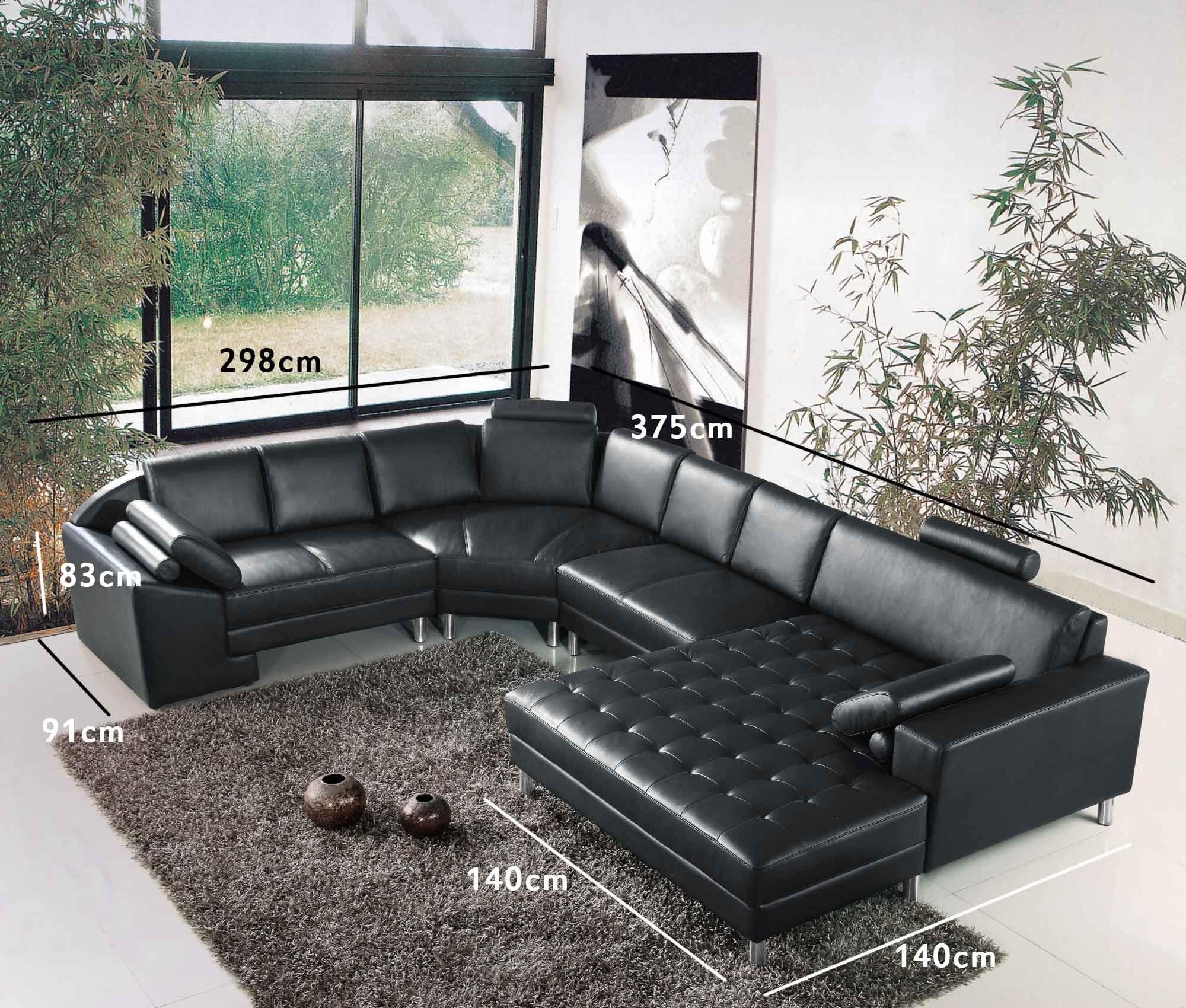 Canape D Angle Panoramique En Cuir Noir Houston Angle Droit Canape Angle Meubles De Salon Modernes Canape Modulable