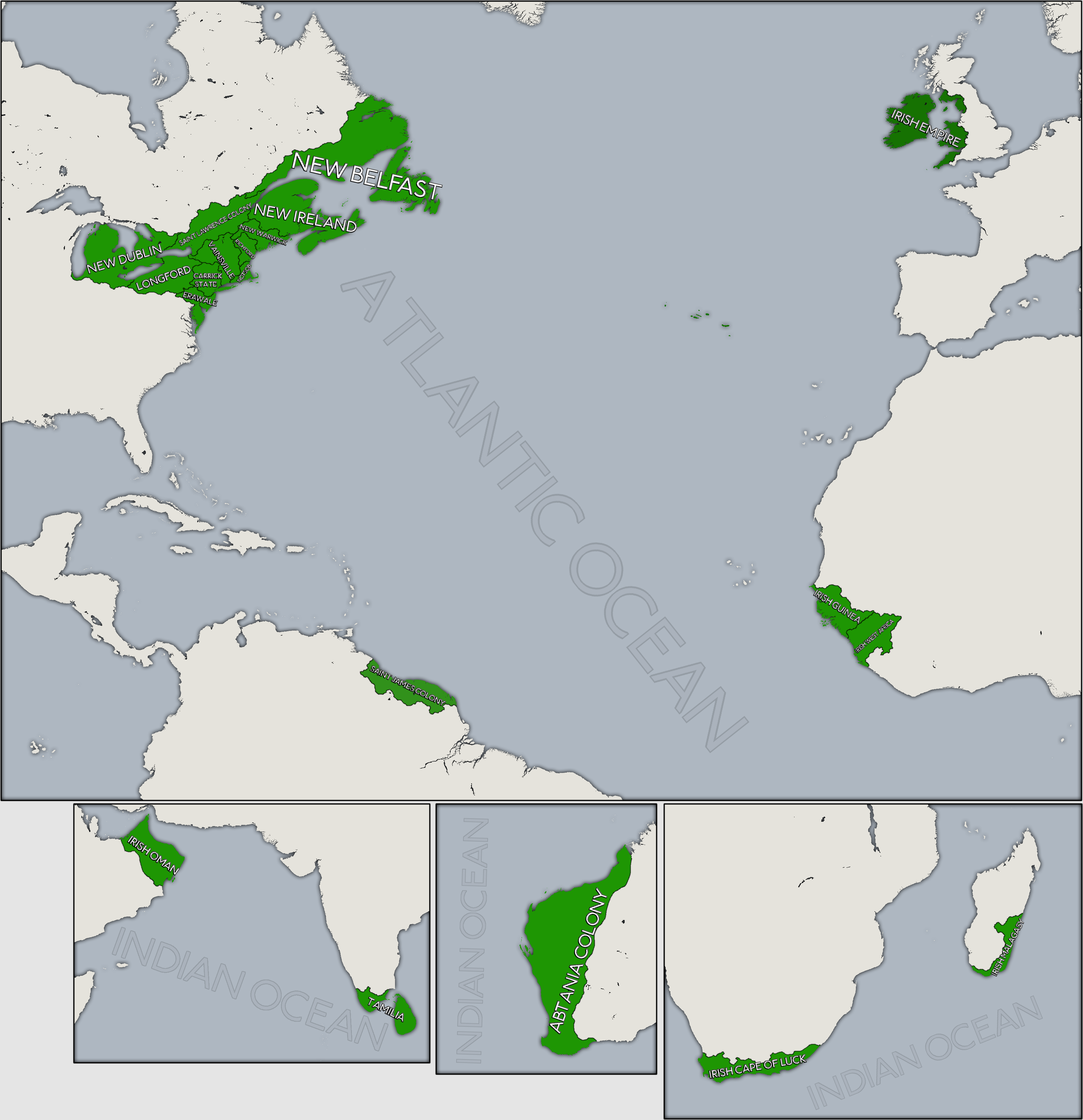 Colonial Irish Empire Alternate History History Map