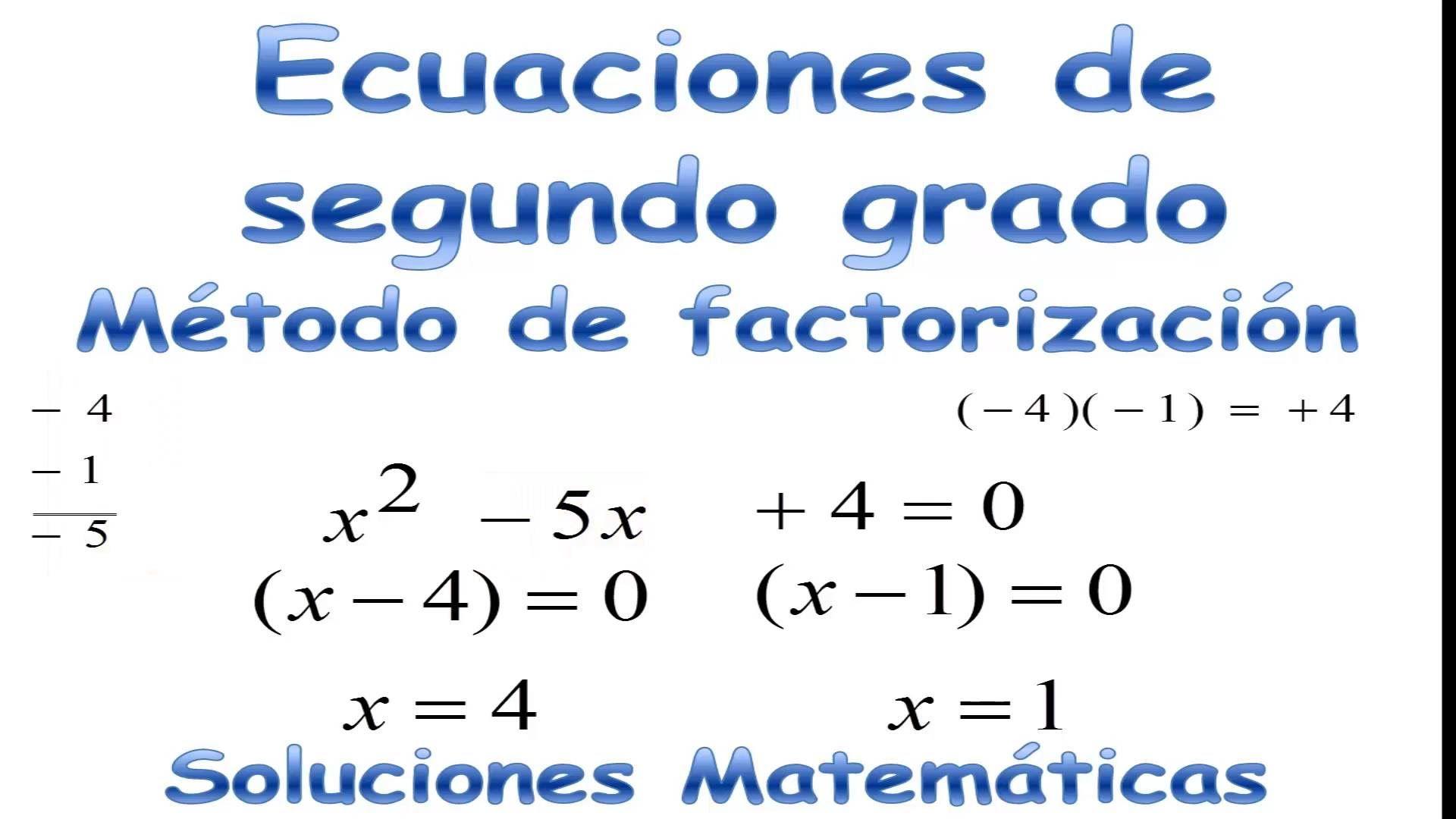 Como resolver Ecuaciones de Segundo grado por Factorización ...