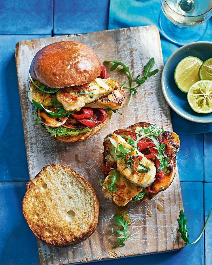 Slices of halloumi and sweet potato are marinated, grilled and placed in burger buns spread with a generous amount of smashed avocado. That's vegetari