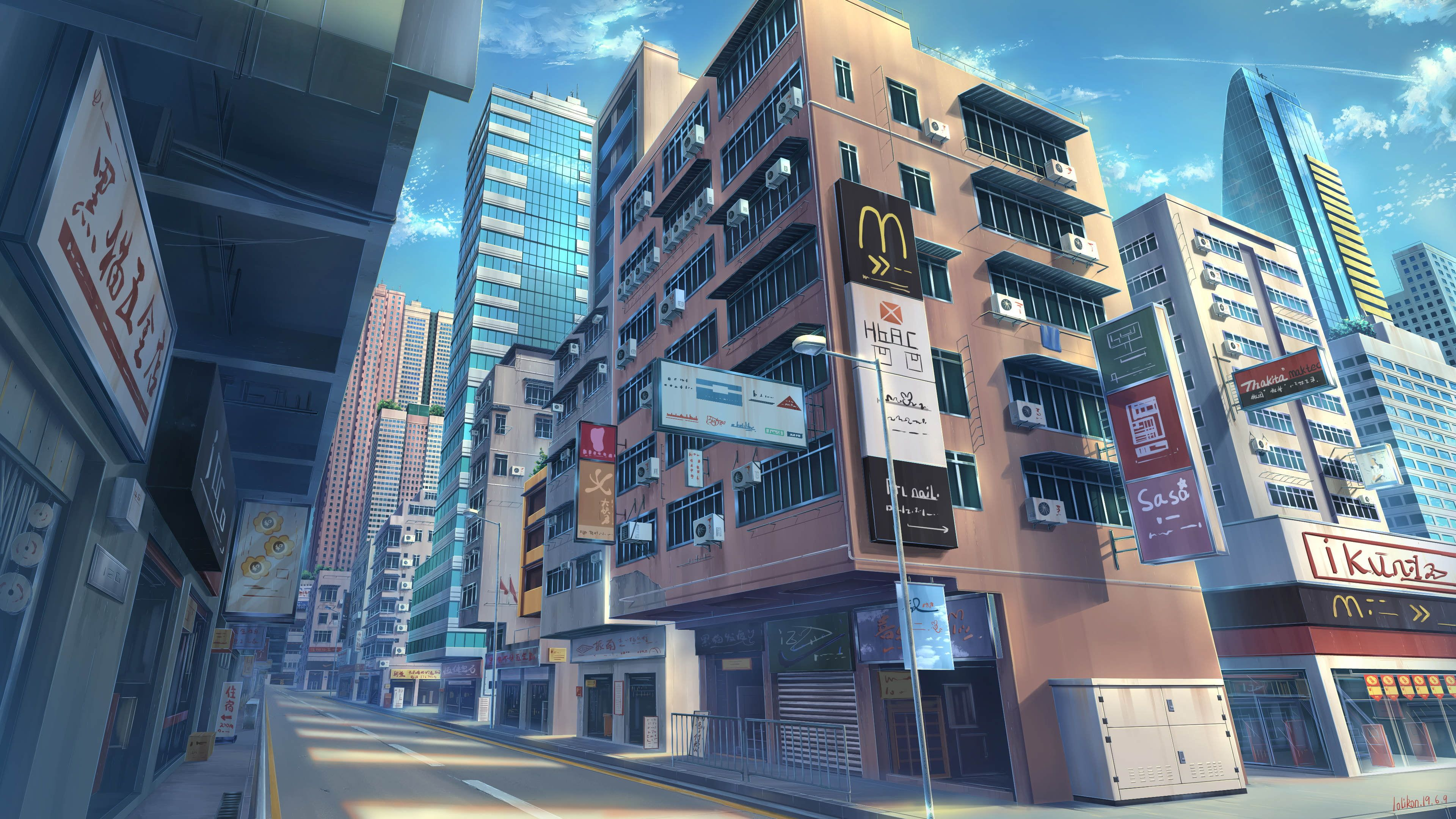 Anime Original Building City Original Anime Street 4k Wallpaper Hdwallpaper Desktop Anime City Anime City Wallpaper Anime Street Wallpaper