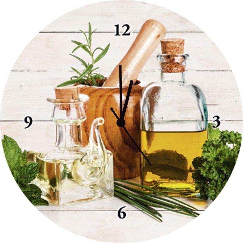 grafvision: Olivenöl und Kräuter - Küche - Wanduhr auf Glas 35 x 35 ...