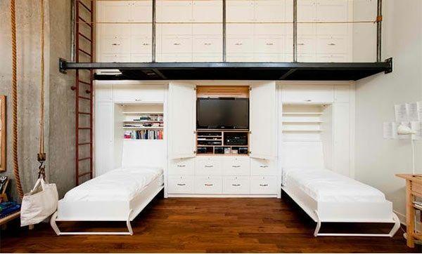 schrankwand mit klappbett wohnideen f r praktische wandbetten klappbett schrankwand und. Black Bedroom Furniture Sets. Home Design Ideas