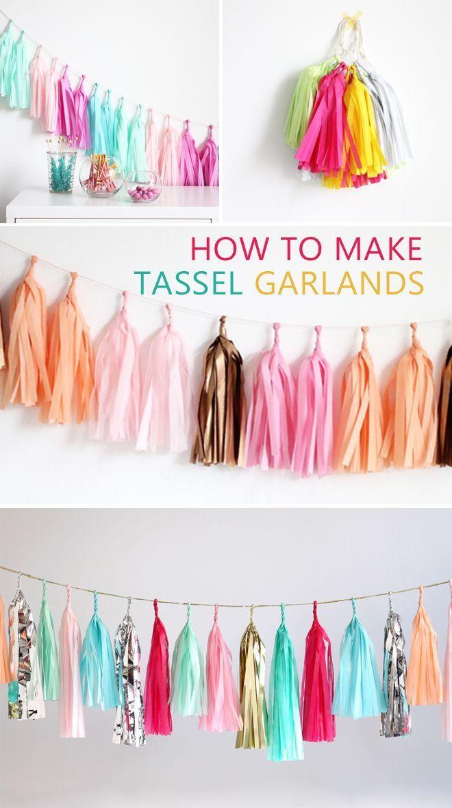 5 Piece Tissue Paper Tassel Garland DIY Kit hot pink