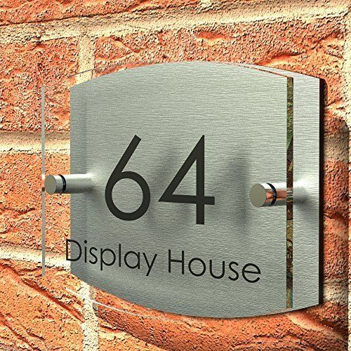 Displaypro house number sign plaque thick glass effect for Front door number plaques