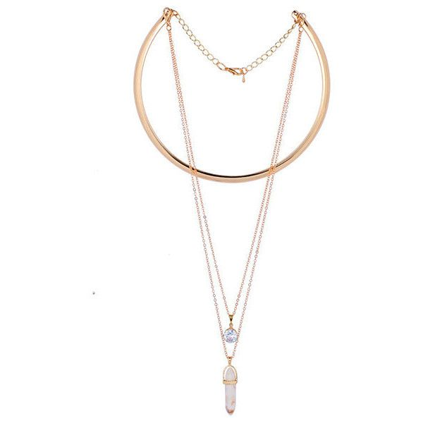 Six Corners Natural Stone Pendant Gold Alloy  High-grade Zircon... (€5,76) ❤ liked on Polyvore featuring jewelry, necklaces, creamy white, gold chain pendant, gold collar necklace, gold pendant necklace, collar necklace and circle pendant necklace