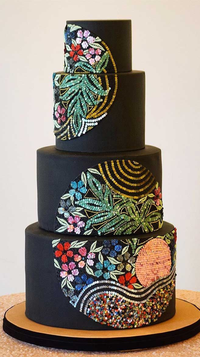 The 50 Most Beautiful Wedding Cakes – Black Wedding Cake with edible sequin