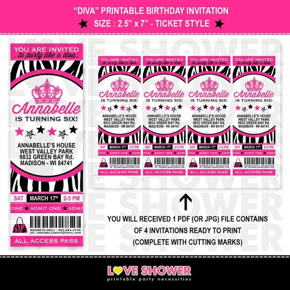 Pink Zebra Print Girls 1st Birthday Invitation: Diva Birthday Invitation Ticket Style