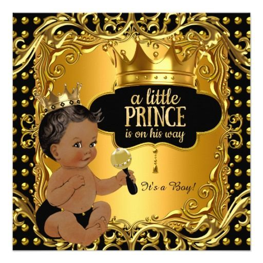 little prince baby shower gold rattle ethnic card   prince baby, Baby shower invitations