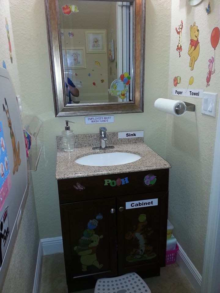 This Is Our Sink And Mirror Where Preschoolers Brush Their Teeth And Wash Their Hands Home Daycare Bathroom Posters New Classroom