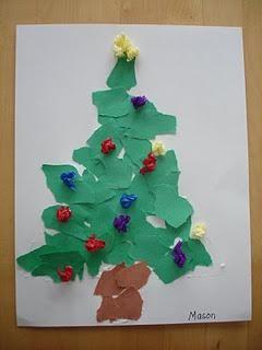 Torn Paper Christmas Tree Christmas Kindergarten Christmas Art Projects Preschool Christmas