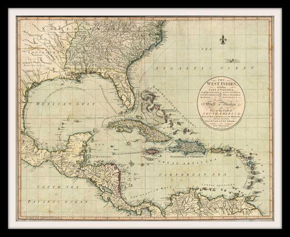 Caribbean nautical chart historic map print 1783 west indies gulf of caribbean nautical chart historic map print 1783 west indies gulf of mexico bahamas florida jamaica virginia carolina wall art home office gumiabroncs Image collections