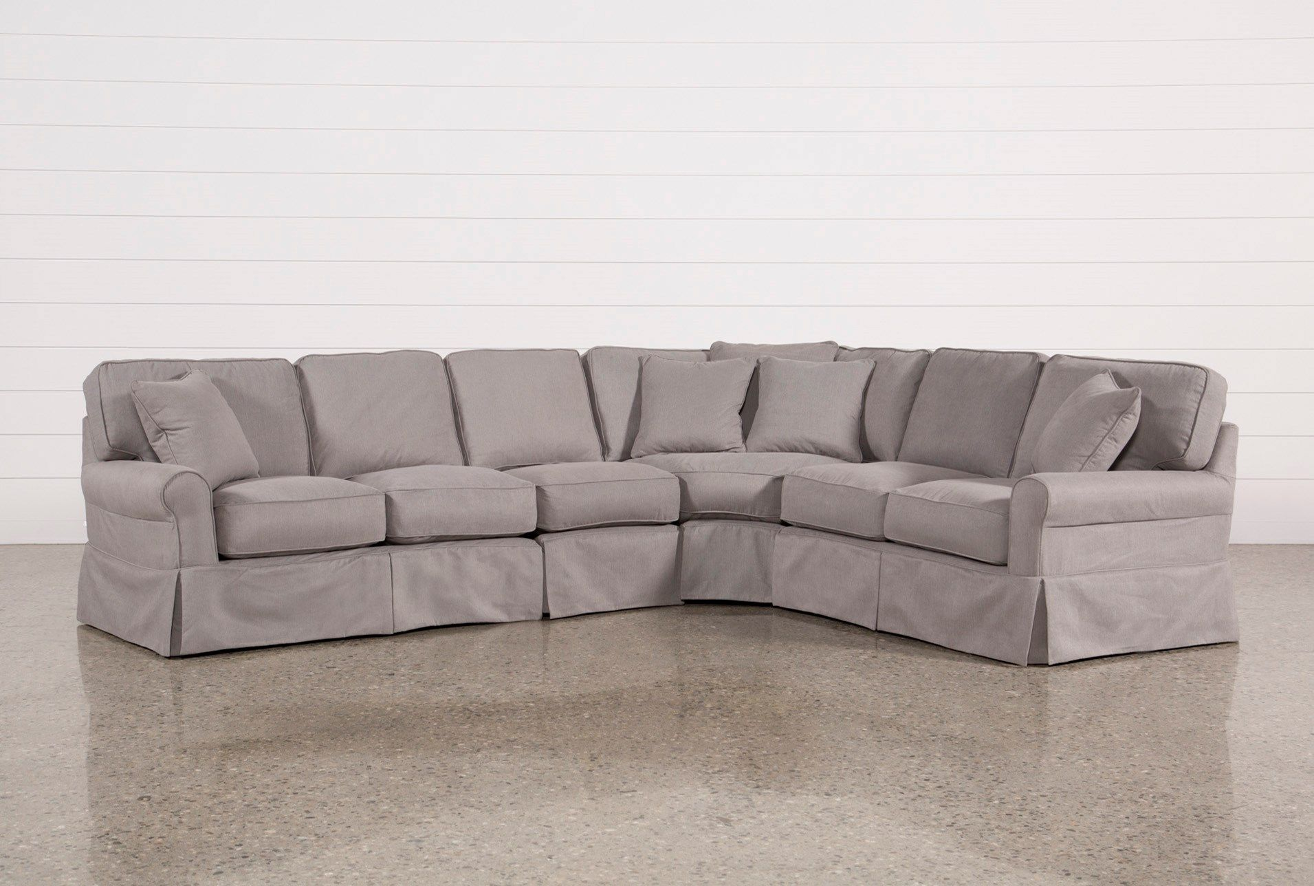 Carlyle Slipcovered 4 Piece Sectional Grey Sofas