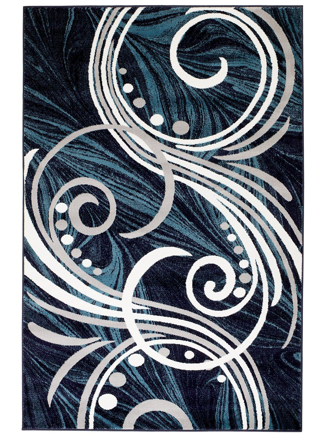 Amazon.com: NEW Swirl Design Area Rug Blue Grey White Scrolls Transitional  Swirl Area