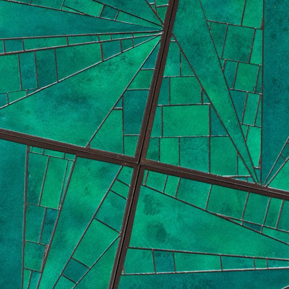 Emerald Green Coasters Handmade Mosaic Abstract Geometric Patchwork Paper. $45.00, via Etsy.
