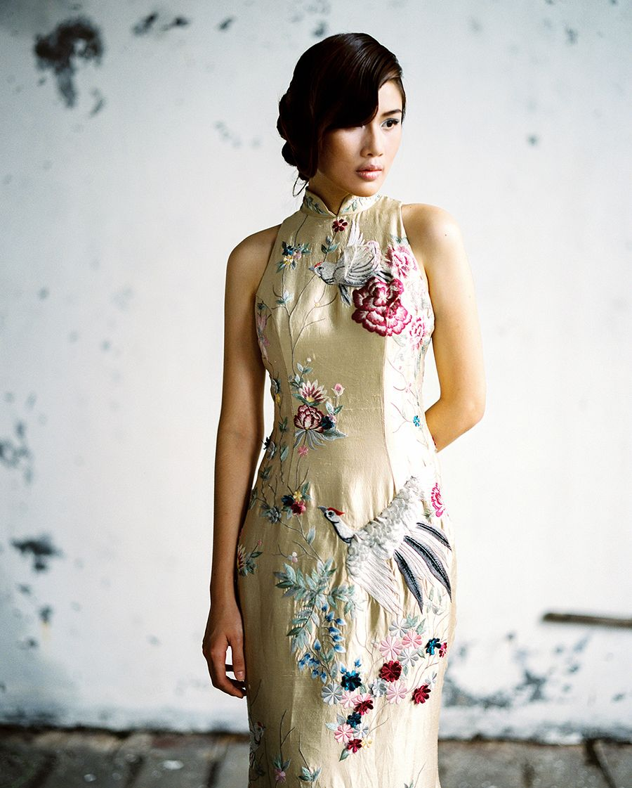 1751a5f38 Gold cheongsam with floral embroidery and more beautiful wedding #qipao  inspiration from Indonesian designer Cinobi's collections // East Meets  West: Light ...
