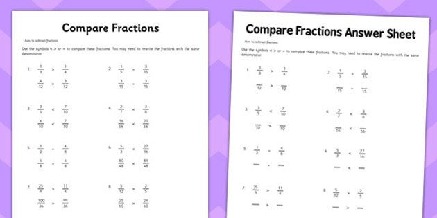 Year 6 Compare Fractions Worksheet 1 Comparing Fractions Comparing Fractions Activities Fractions