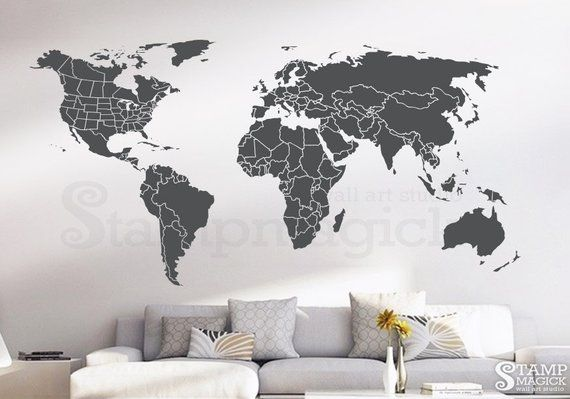 world map countries wall decal - usa united states canada province