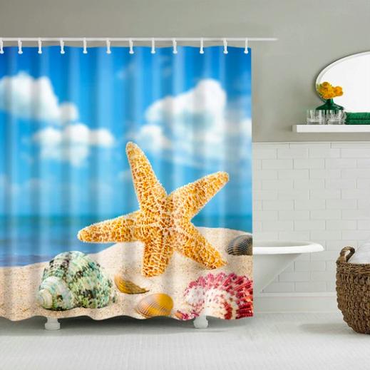 Starfish Beach Day Fabric Shower Curtain Fabric Shower Curtains Curtains Shower Curtain Art