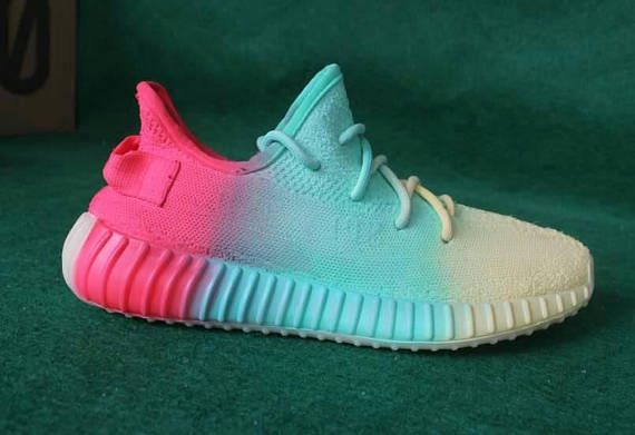 fbe85daf5808 customized Adidas Yeezys 350 Boost rainbow fabric color paints. The item  you will receive will