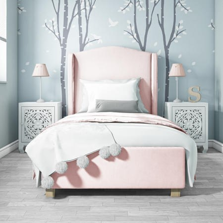 Buy Safina Single Wing Back Bed In Baby Pink Velvet From