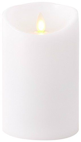 """LUMINARA Flicker Flame Effect UNSCENTED candle set 5/""""7/""""9/"""" with remote WHITE"""