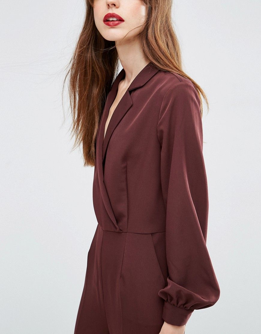 4572def889 ASOS Long Sleeve Jumpsuit with Collar and Wrap Front
