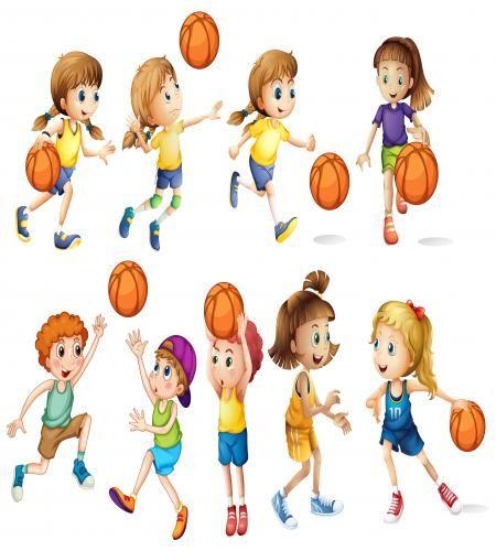 تصميم مجموعة اطفال بنات واولاد يلعبون كرة سلة ملف مفتوح Basketball Drawings Basketball Mom Ideas Basketball Pictures
