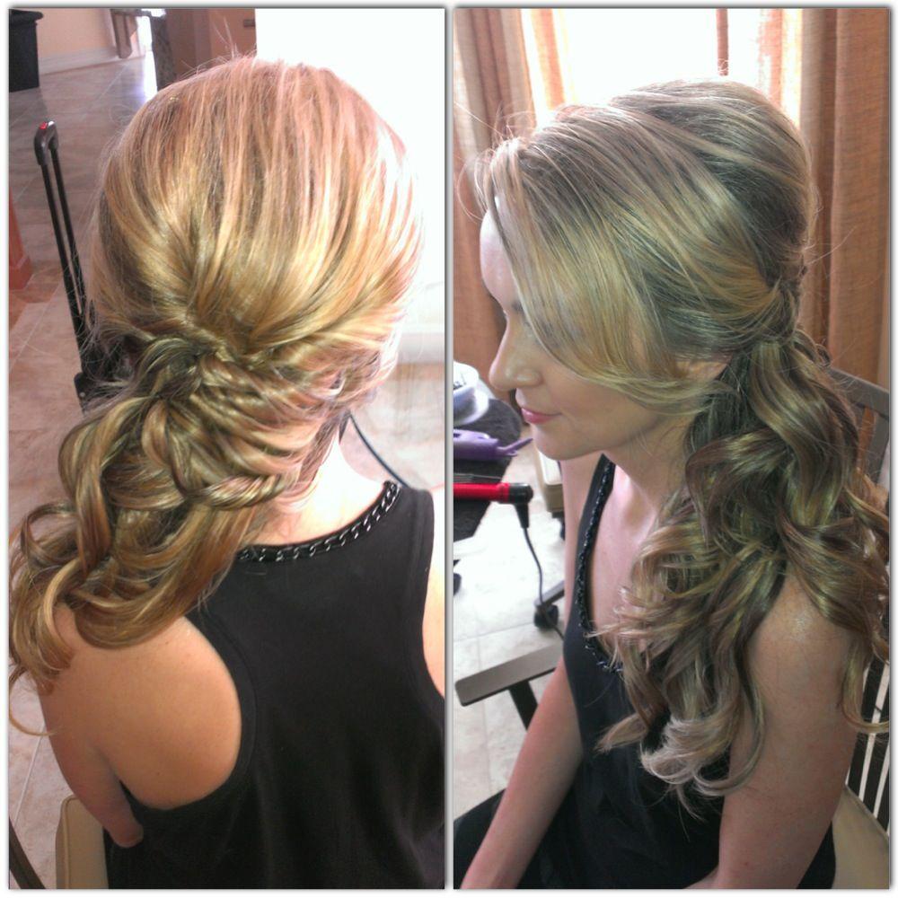 Wedding hair side pony side swept curls updo bridal hair prom