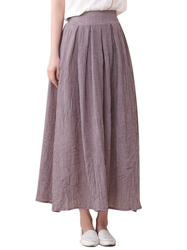 d3cc484fcb Skirts yoox women elastic waist pure color linen pleated skirts #3/4 #skirts