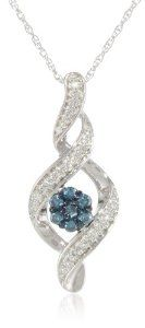 10k White Gold and Blue and White Diamond Twist Pendant Necklace (0.2 cttw, G-H Color, I1-I2 Clarity), 18""