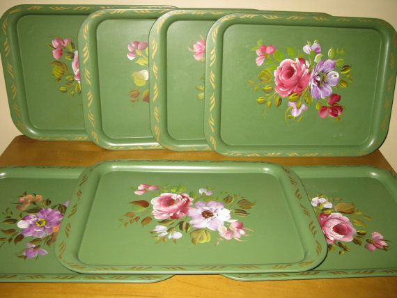 SET of 7 Mid century NASHCO  metal lap trays  TV by oakiesclaptrap, $17.99