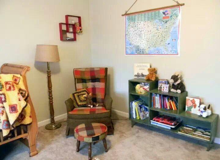 Vintage Camping Baby Room Nursery Woodland Rustic Plaid