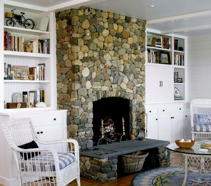 River rock fireplace on Nantucket Island MA Chris Belanger