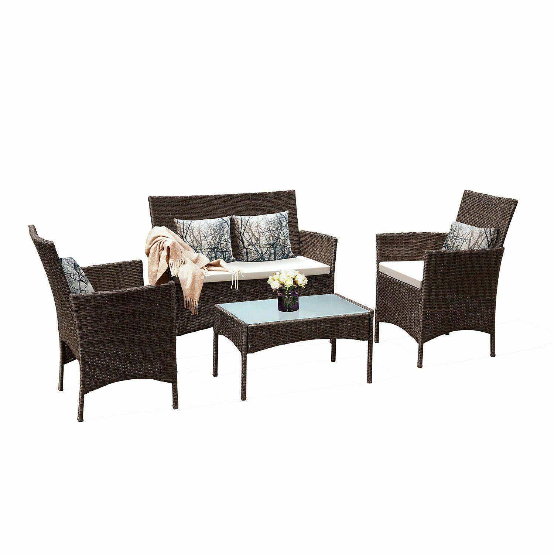4 Set Patio Rattan Wicker Chair Table Set Sofa Seat Cushioned