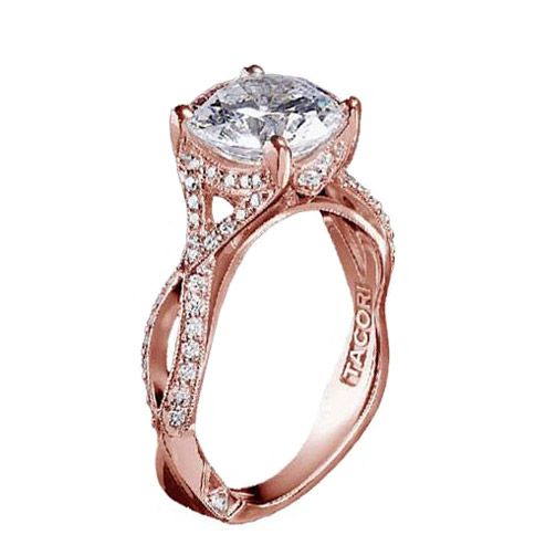 Tacori 2565MDRD7.5 18kt Rose Gold Pave Criss-Cross Diamond Engagement Ring  .22ctw