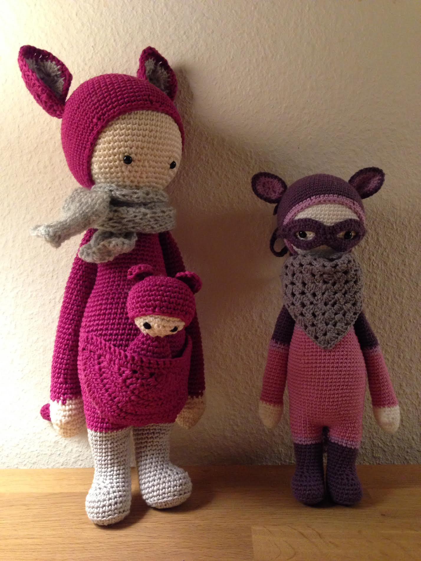 KIRA the kangaroo and ROCO the raccoon made by Bettina V. / crochet patterns by lalylala
