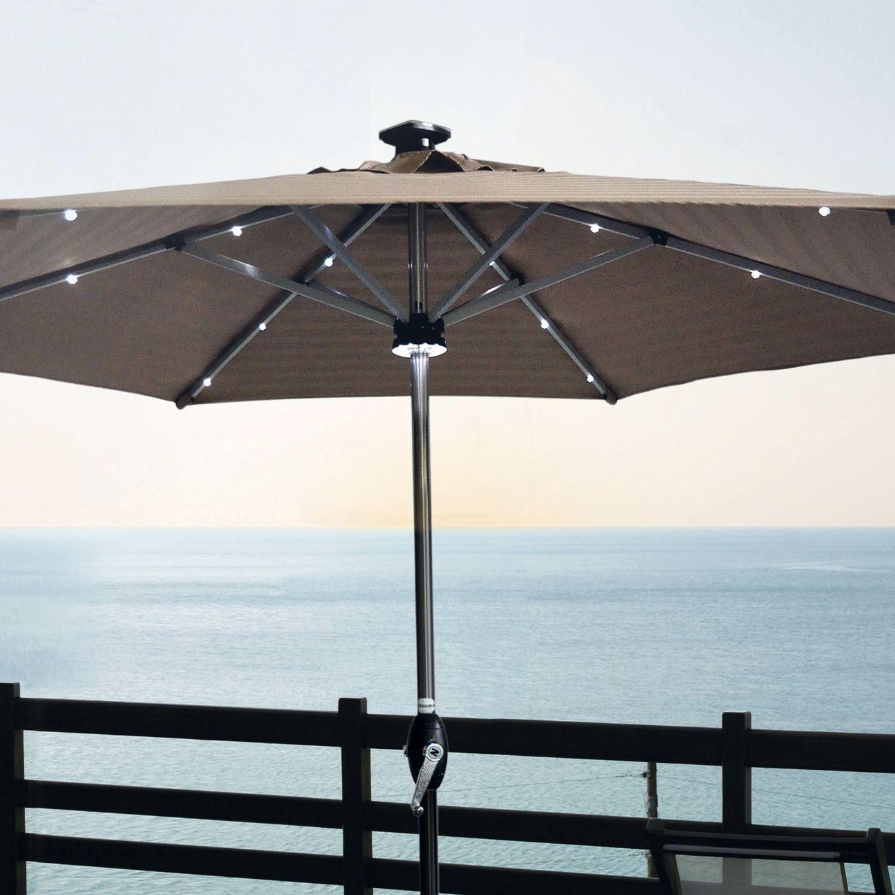Romantischer Sonnenschirm Mit Led Beleuchtung Sternenhimmel Sonnenschirm Solarbeleuchtung Schirm