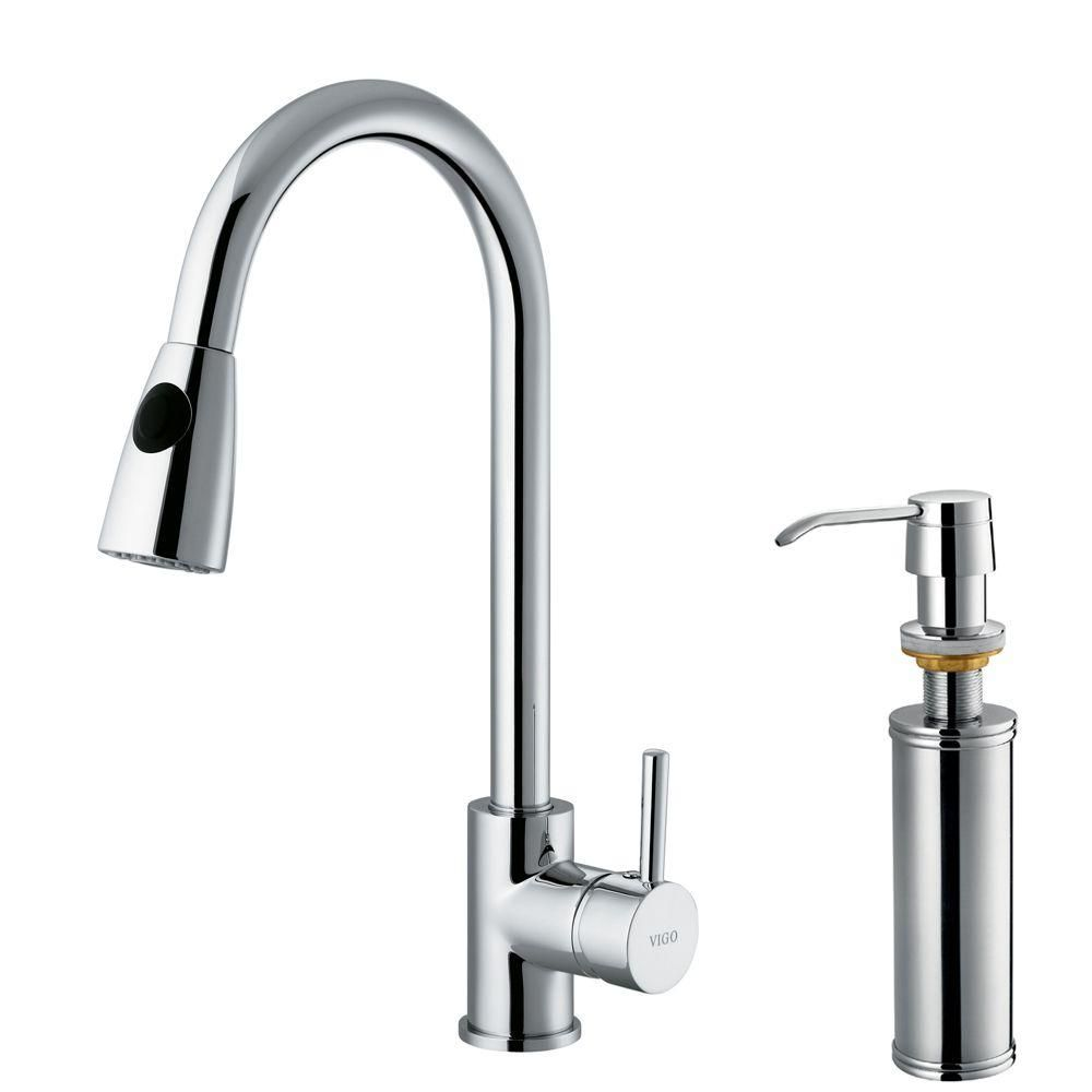 Vigo Single-Handle Pull-Out Sprayer Kitchen Faucet with Soap ...