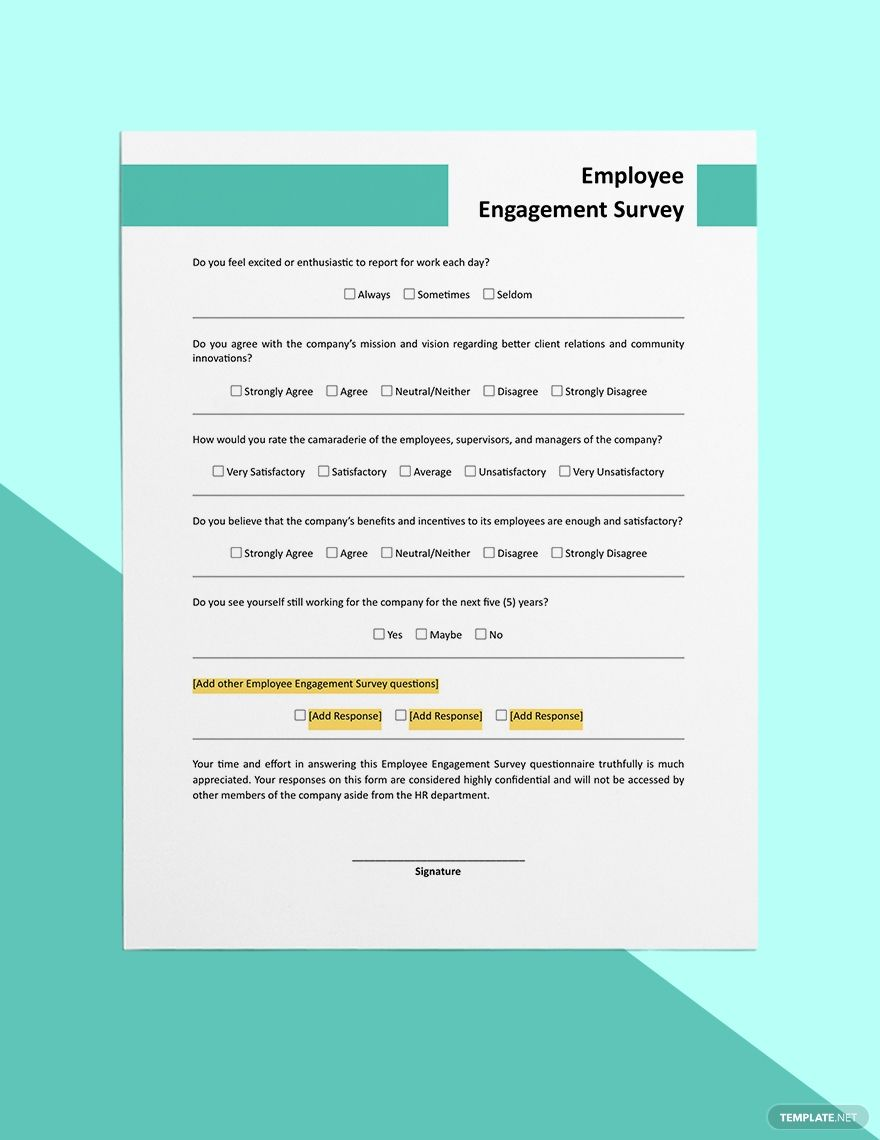 Employee Engagement Survey Form Template Word Doc Apple Mac Pages Google Docs Employee Engagement Survey Engagement Survey Employee Engagement