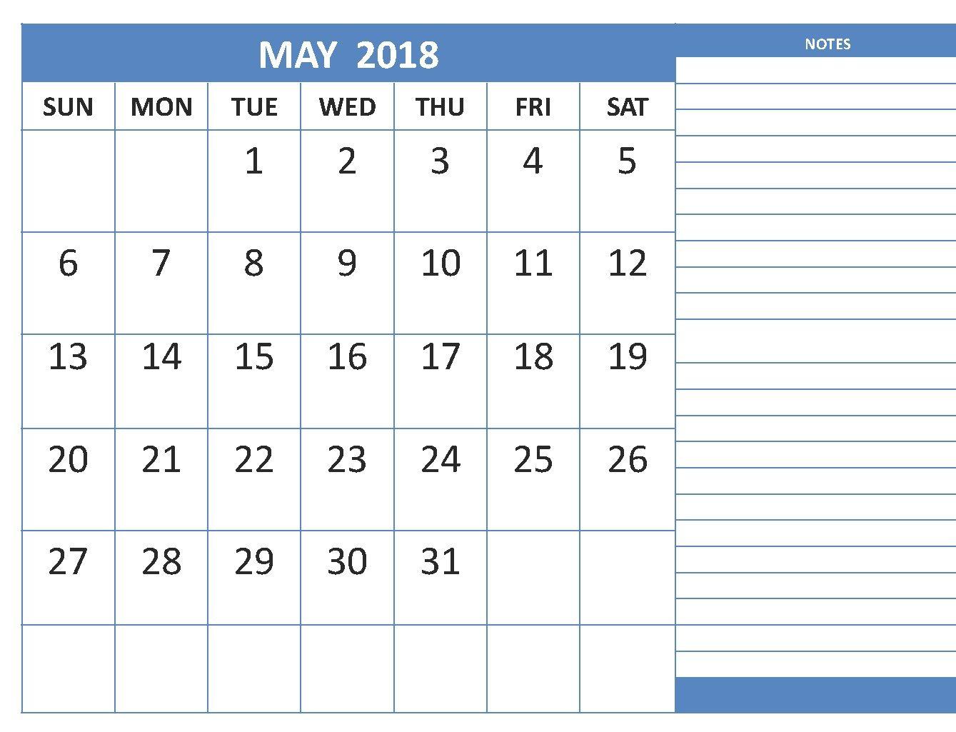 may 2018 blank calendar template