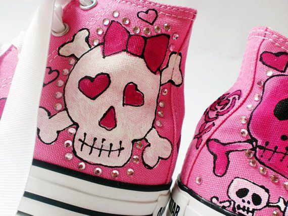 19c3aea847fe Hot Pink Converse with Painted Skullies Kids Shoes