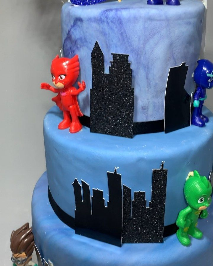 3 tiered pj masks cake * * *