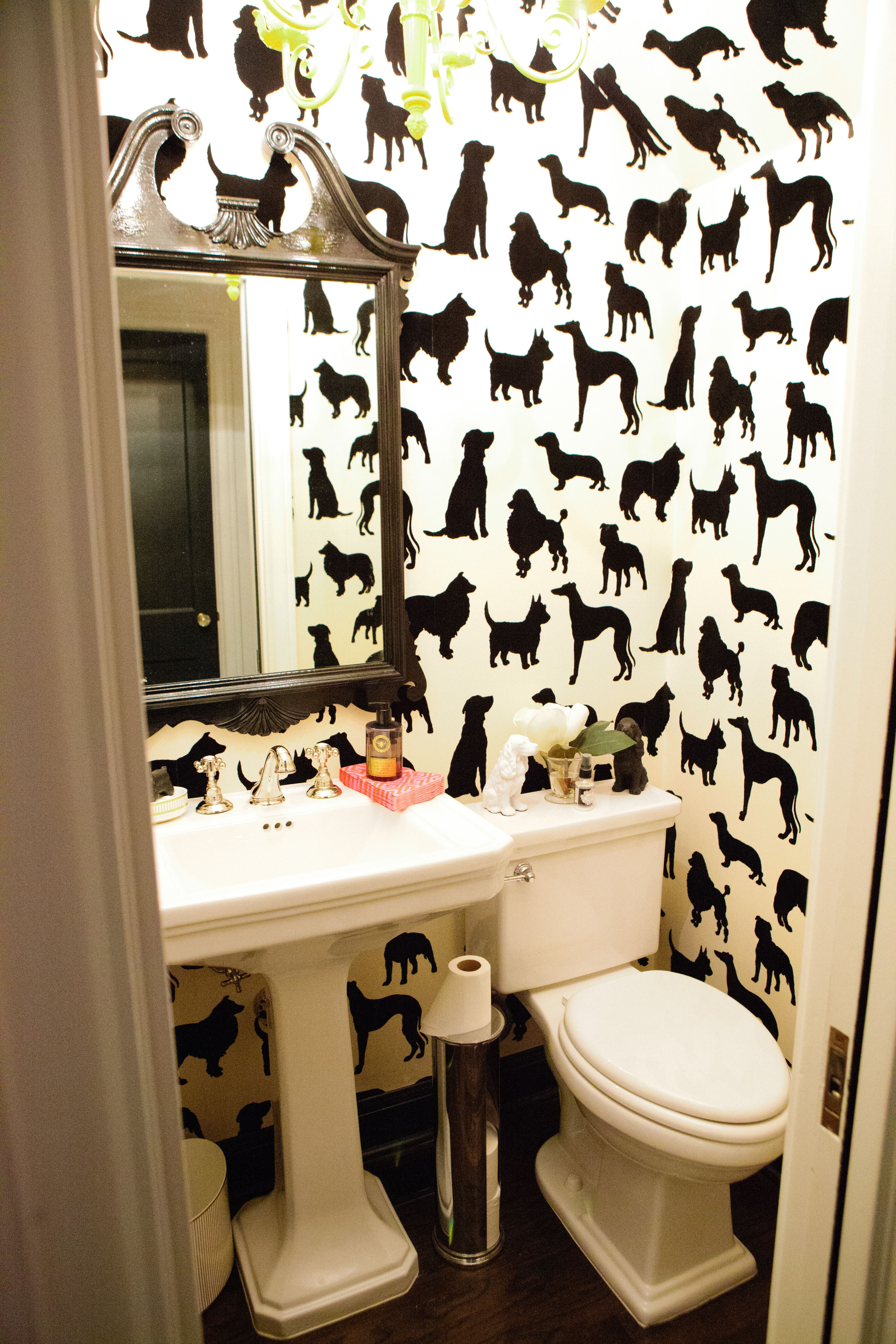 Powder Room Wallpaper Dog Bathroom Yes Mudroom Bath Pinterest Talco Carta Da